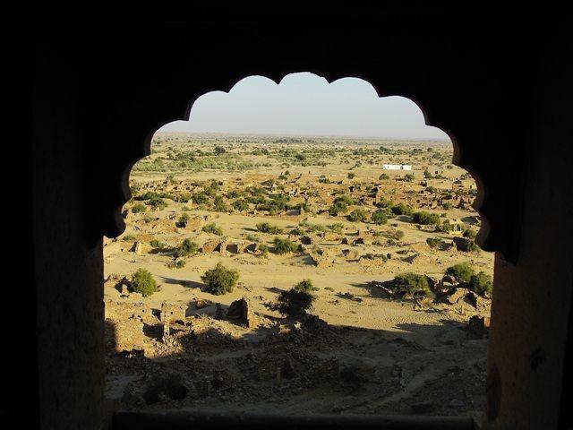 Zdjęcia: Jaisalmer - pustynia Thar, Rajasthan, widok z opuszczonego fortu, INDIE