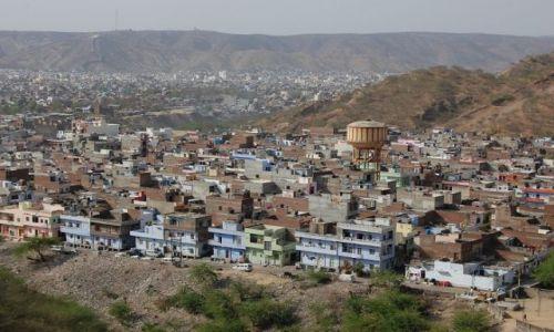 INDIE / Radżastan / Jaipur / Widok na Jaipur ze Świątyni Małp