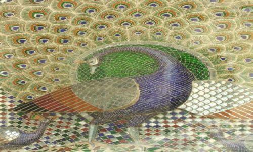 INDIE / Radjastan / Udajpur / Mozaika- pawi dziedziniec