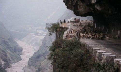 Zdjecie INDIE / Stan Himachal Pradesh / Na północ od Rampur / Droga z fantazją