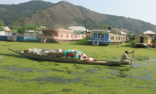 Zdjecie INDIE / Kaszmir / Srinagar / sprzedawca miednicna jeziorze Dal