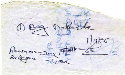 Zdjecie INDIE / Indie / Delhi / Potwierdzenie zostawienia depozytu
