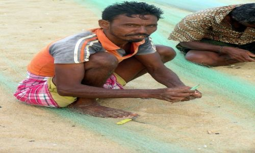 Zdjecie INDIE / Orissa / Puri / Naprawianie sieci