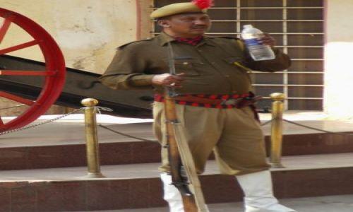 INDIE / Rajasthan / Jaipur / spragniony strażnik