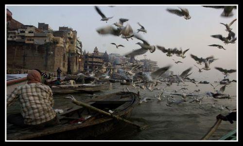 Zdjecie INDIE / Uttar Pradesh / Varanasi / Świt na rzece -