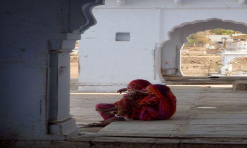 Zdjecie INDIE / Rajsthan / Puskhar / Kobiety w tradycyjnych czerwonych sari w żółte kropki typowe dla stanu Rajasthan