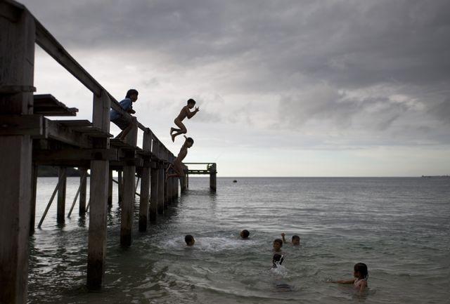 Zdjęcia: poludniowy zachod wyspy, Lombok, skok, INDONEZJA