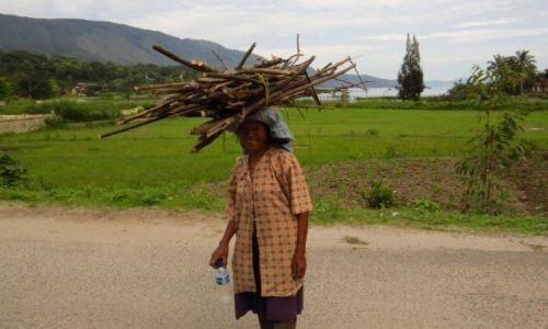 INDONEZJA / Sumatra / Jezioro Toba / Klasyczny sposób noszenia rzeczy