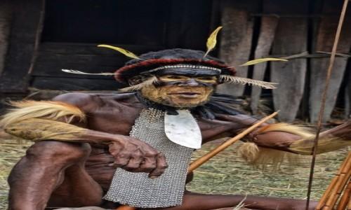 INDONEZJA / Papua Zachodnia; Dolina Baliem / wioska Dani / Wódz plemienia Dani -