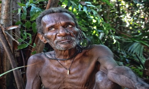 INDONEZJA / Papua Zachodnia / las deszczowy, dwa dni drogi od wioski Mabul / Korowaj - senior