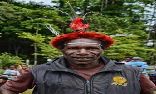 Zdjecie INDONEZJA / Papua Zachodnia / Dekai / W Dekai - pan w kapeluszu (rajski ptak)