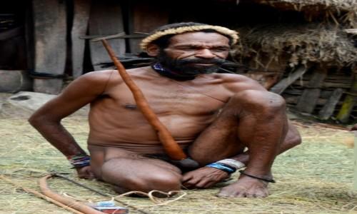 Zdjecie INDONEZJA / Papua Zachodnia / Dolina Baliem, wioska Dani / Plemię Dani - pan Bardzo Długa Tutka :)
