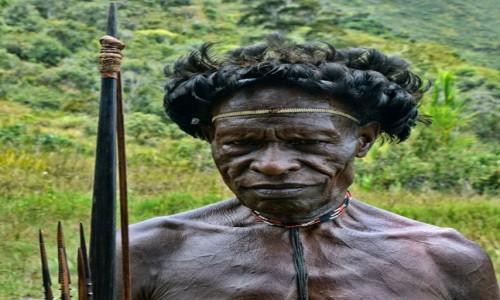 Zdjecie INDONEZJA / Papua Zachodnia / Dolina Baliem, wioska Dani / Pan Dani pozuje