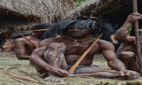 Zdjecie INDONEZJA / Papua Zachodnia / Dolina Baliem, wioska Dani / Pan Dani i kapelusz z kazuara