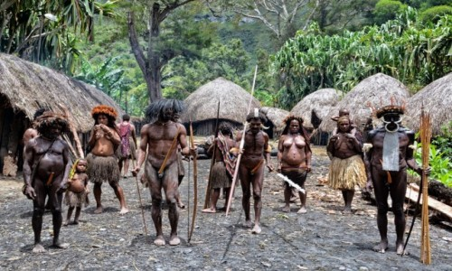INDONEZJA / Papua Zachodnia / Dolina Baliem, wioska Dani / Dani - dwie rodzinki i jeszcze trochę