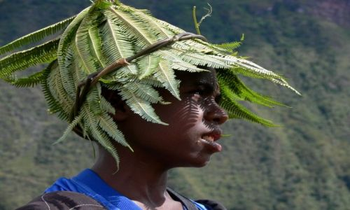 Zdjecie INDONEZJA / Papua / Bolina Baliem / Kapelusze-Papua