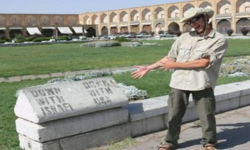 Zdjęcie IRAN / Esfahan - połowa świata... / Plac Imama / Down with USA, Down with Israel!