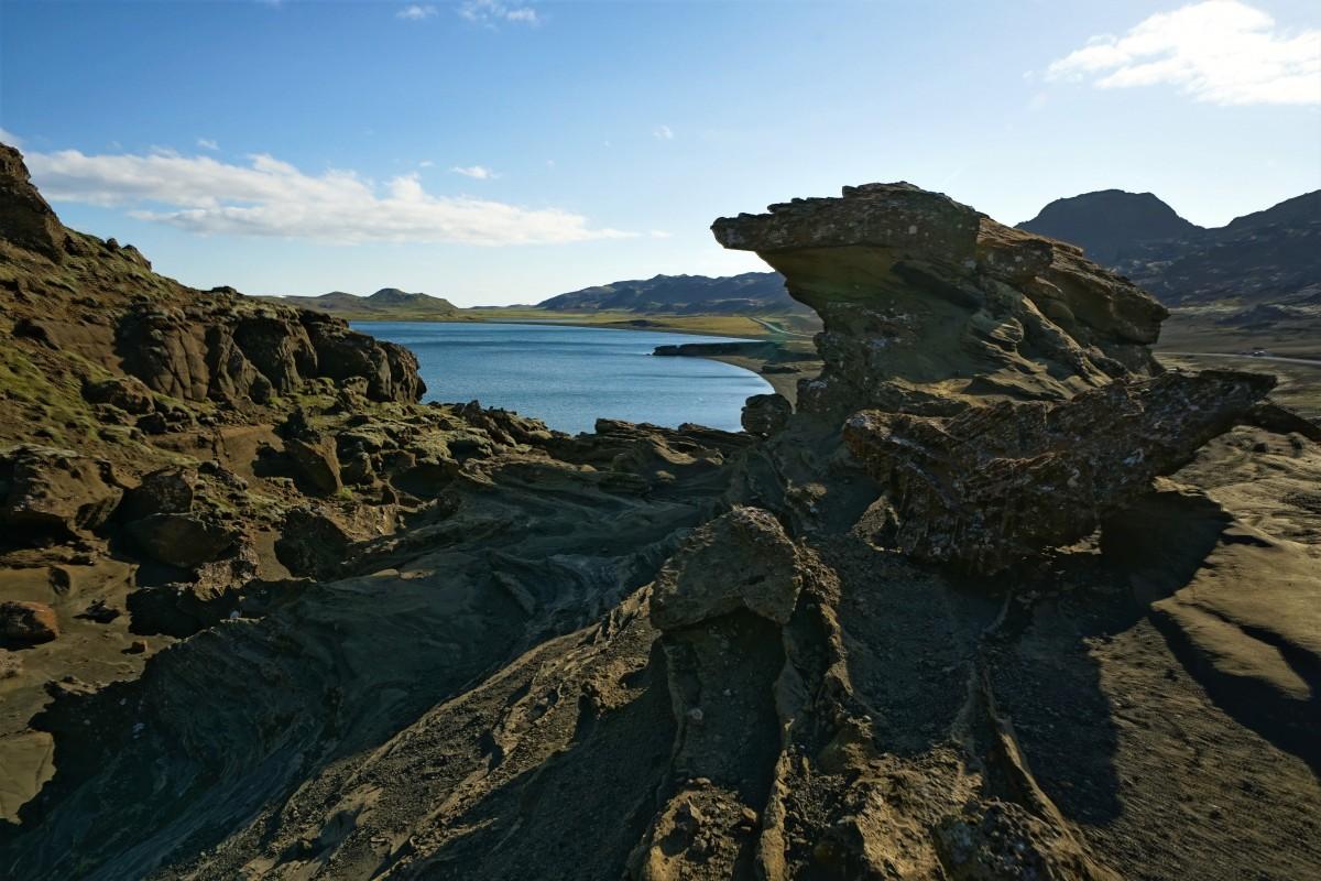 Zdjęcia: ., Kleifarvatn , Formy skał wylkanicznych, IRLANDIA