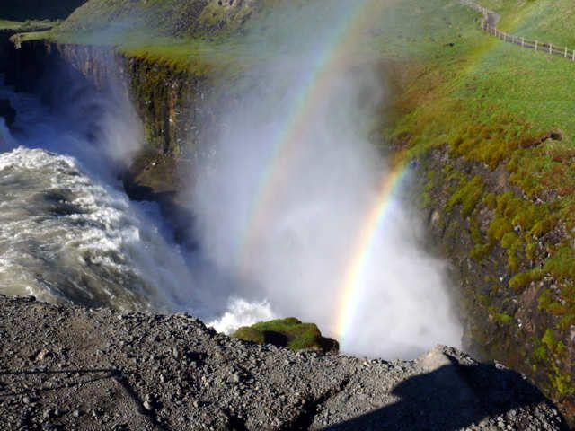 Zdjęcia: Wodospad Gullfoss , Południowa Islandia, Złoty wodospad, ISLANDIA