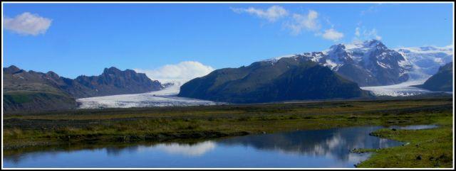 Zdjęcia: Panorama Skaftafell National Park, Islandia poludniowa, Jezory lodowcowe Vatnajokull, ISLANDIA