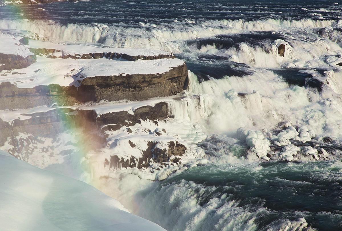 Zdjęcia: Wodospad Gullfoss, ., Przepasany wstążką tęczy, ISLANDIA