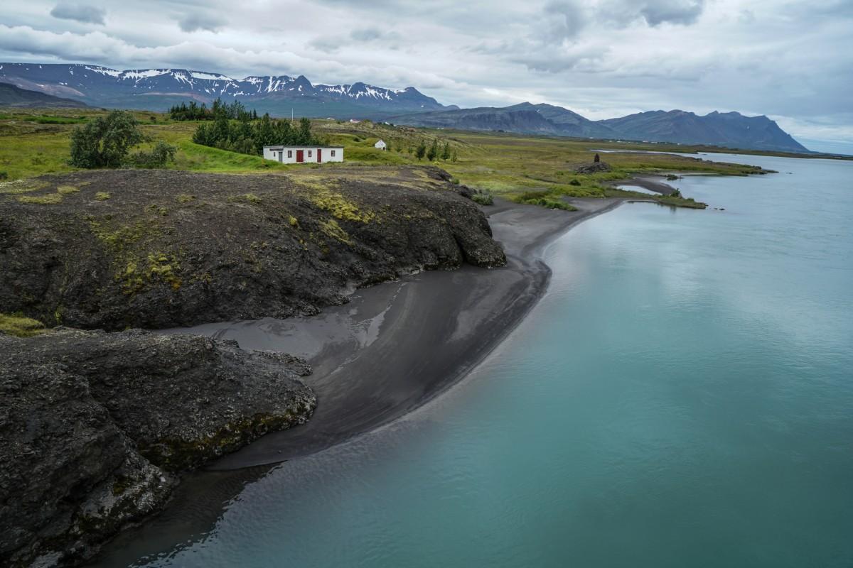 Zdjęcia: rzeka Hvita, środkowa Islandia, Czarne brzegi Hvity, ISLANDIA