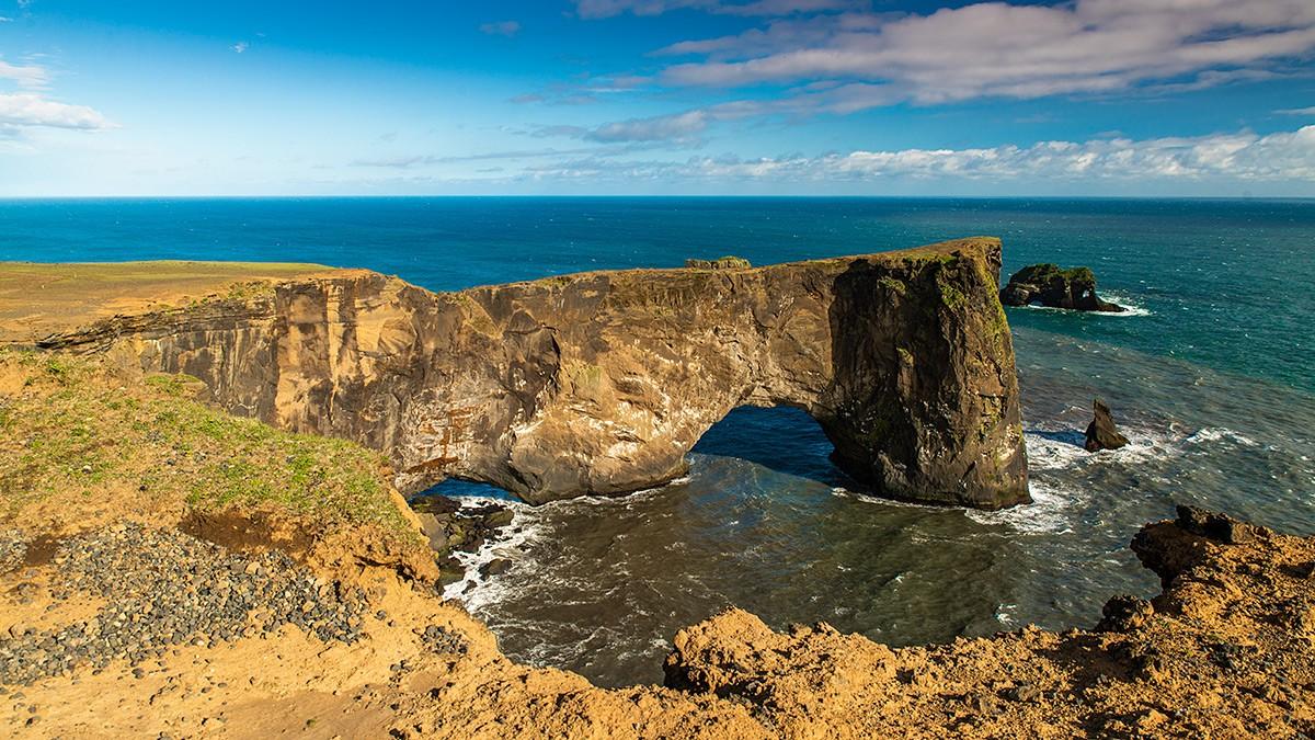 Zdjęcia: Cypel Dyrholaey, Poludnie wyspy, Wielki łuk skalny, ISLANDIA