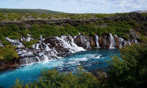 Zdjęcie ISLANDIA / zach Islandia / wodospad Hraunfossar / Lawowe wodospady
