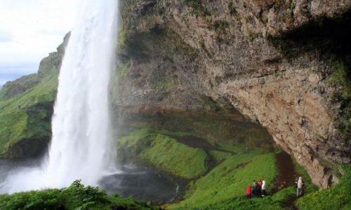 Zdjecie ISLANDIA / południowa Islandia / wodospad Seljadafoss / wiszący wodospad