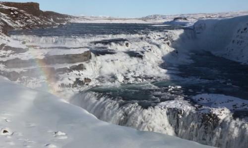 Zdjęcie ISLANDIA / Wodospad Gullfoss / . / Krajobraz z tęczą