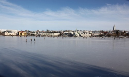 Zdjecie ISLANDIA / Reykjavik / Jezioro Tjornin  / In Blue