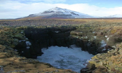 Zdjecie ISLANDIA / Półwysep Snæfellsnes / Arnarstapi / Wulkan nad kraterem