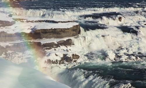 ISLANDIA / . / Wodospad Gullfoss / Przepasany wstążką tęczy