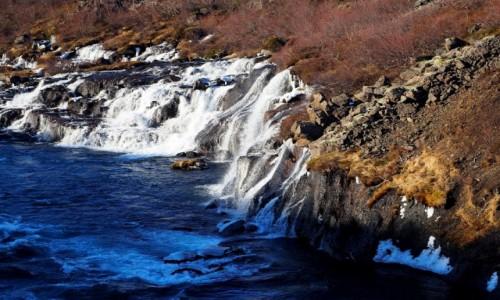 ISLANDIA / zachodnia Islandia / okolice  lodowca Langjökull / Hraunfossar