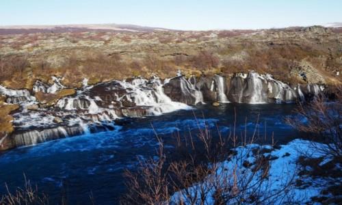 Zdjecie ISLANDIA / zachodnia Islandia / Hraunfossar / Wodospad lawowy