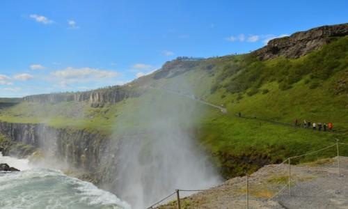 ISLANDIA / zachód  kraju / Słynny Gulfoss przy pogodzie / W słonecznej Islandii
