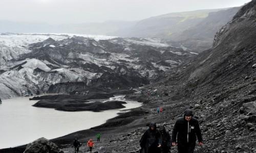 Zdjęcie ISLANDIA / południe kraju / lodowiec Myrdals -Jokull / Myrdals Jokull na pochmurno
