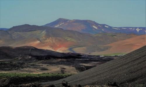 Zdjecie ISLANDIA / Pólnocny -wschód wyspy / nad jeziorem / Wulkaniczny krajobraz okolic Mývatn