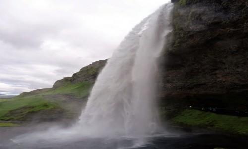 Zdjecie ISLANDIA / południe wyspy / tym razem przed wodospadem / Najpiękniejsze wodospady Islandii: romantyczny Seljalandfoss