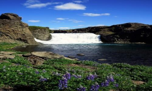 ISLANDIA / Rzeki Fossa i Pjórsa / . / Wodospad Hjalparfoss