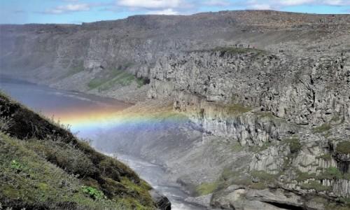 ISLANDIA / Północny Wschód / Rzeka Jökulsá á Fjöllum  / Dettifoss z tęczową poświatą