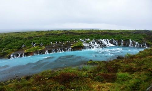 Zdjecie ISLANDIA / doliny rzeki Hvítá / Hraunfossar / Ciurki wody :)