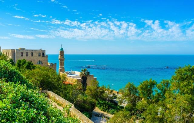 Zdjęcia: Meczet Al-Bahr w Jaffie na tle Morza Śródziemnego, ---, Tel Awiw, IZRAEL