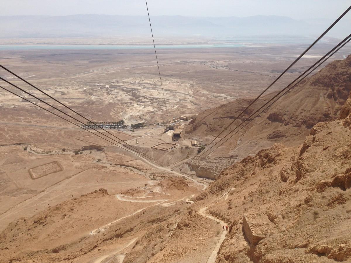 Zdjęcia: Masada, Pustynia Judzka, Wjazd na Masadę - w tle Morze Martwe, IZRAEL