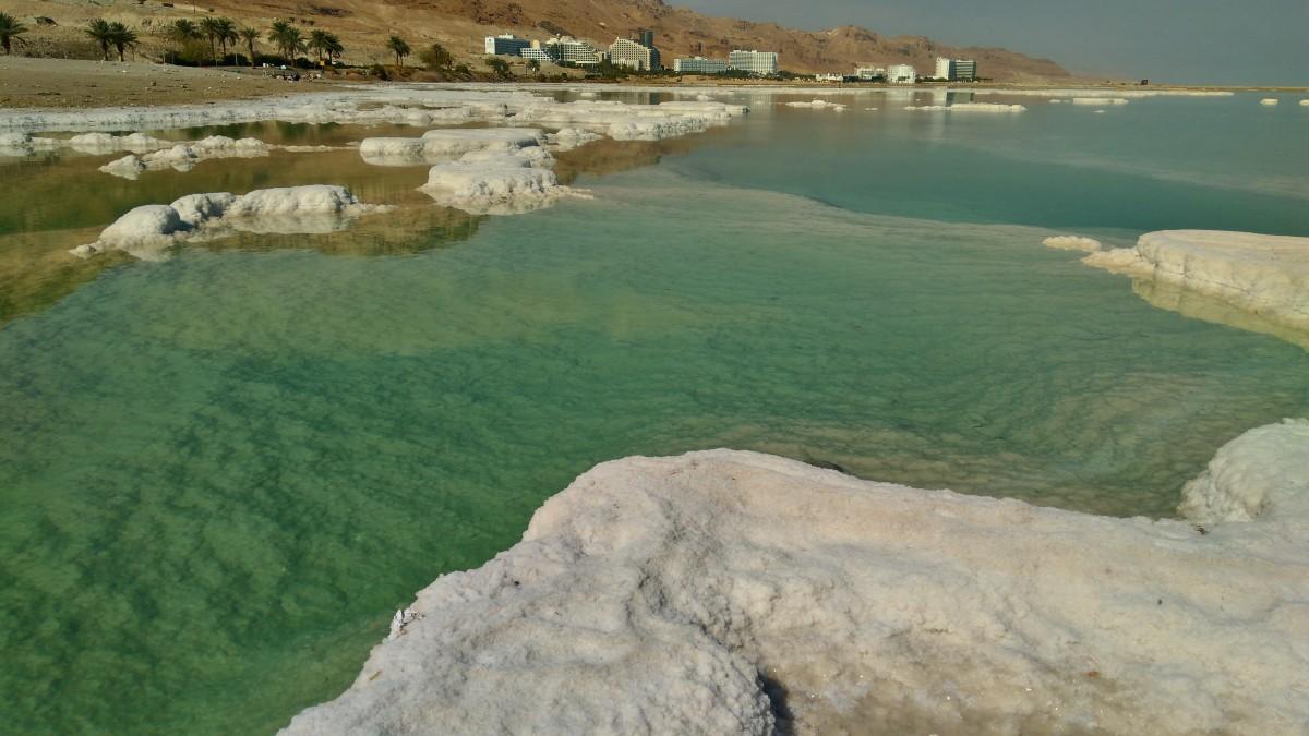 Zdjęcia: Morze martwe, Ein Bokek , sól i morze , IZRAEL