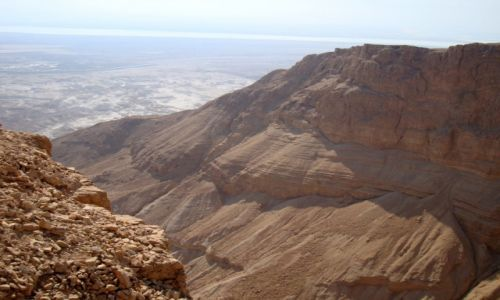 IZRAEL / Dolina Jordanu / Pustynia Judzka / Masada / Widok z Masady na Morze Martwe