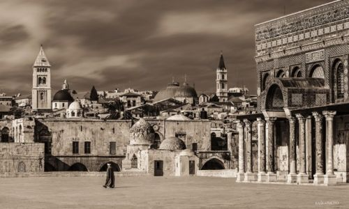Zdjęcie IZRAEL / Bliski Wschód  / Jerozolima /   Widok ze Wzgórza Świątynnego na dzielnicę chrześcijańską w Jerozolimie i fasadę Kopuły na Skale.