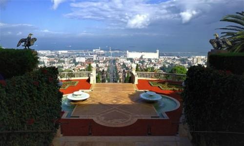 Zdjęcie IZRAEL / Haifa / Ogrody Bahai / Panorama miasta