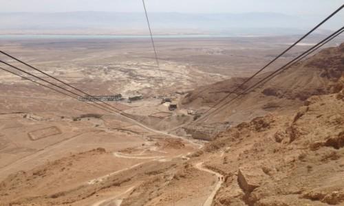 Zdjecie IZRAEL / Pustynia Judzka / Masada / Wjazd na Masadę - w tle Morze Martwe