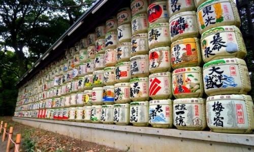 Zdjęcie JAPONIA / Tokio / Meiji Jingū / Beczki sake....:)